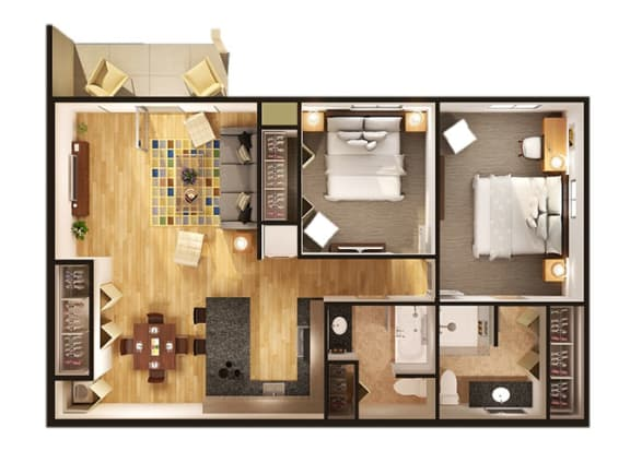 Floor Plan  Floor Plan at Oliver Apartments, Temperance, 48182