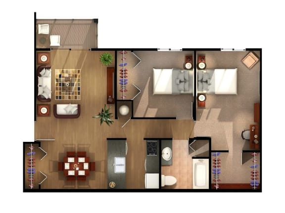 Floor Plan  Two Bedroom One Bath First Floor at Kuder Estates Apartments, MRD Conventional, Warsaw, IN