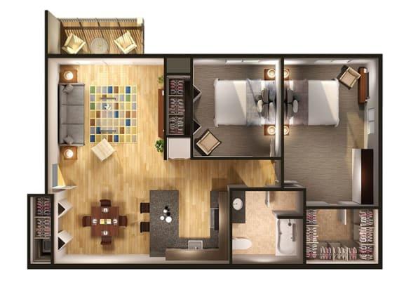 Floor Plan  Two Bedroom Floor Plan at Oliver Apartments, Temperance