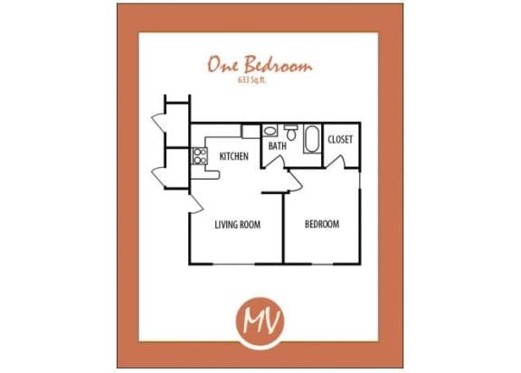 Floor Plan  1 bedroom 1 bathroom floor plan at Mission Vista Apartments at Tucson. AZ