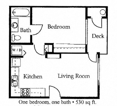 Floor Plan  1 bedroom 1 bathroom floorplan at University West Apartments in Flagstaff, AZ