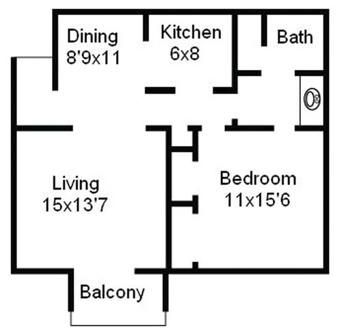 Floor Plan  1 bedroom floor plan image at The Carrington Apartments in Hendersonville TN