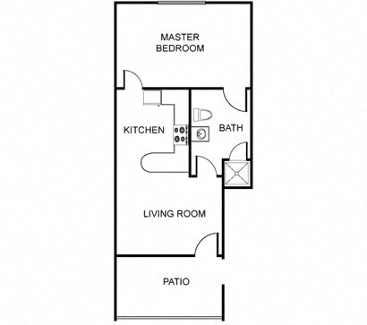 Floor Plan  One bedroom apartment at The Regency Apartments in Tempe AZ