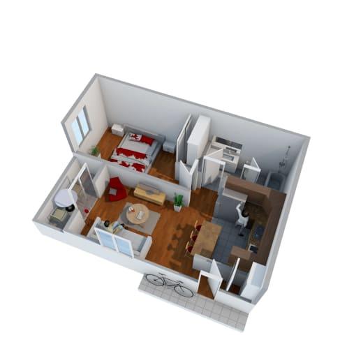 Floor Plan  1 bedroom floor plan image at Nine90 Apartments in Tucson AZ