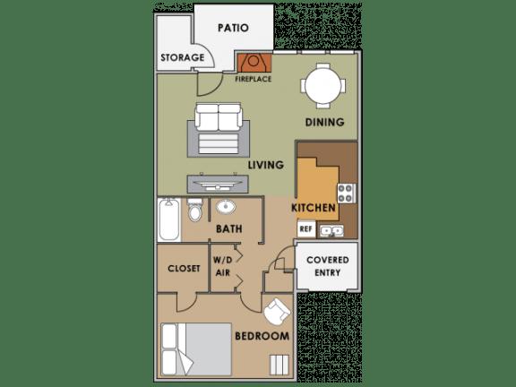 Floor Plan  One bedroom floor plan image at Orange Tree Village Apartments in Tucson AZ