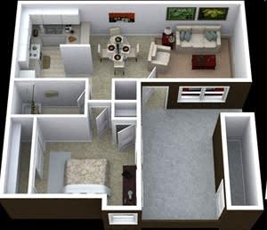 Floor Plan  1 bedroom floor plan image at Villas de la Terraza Apartments in Albuquerque NM