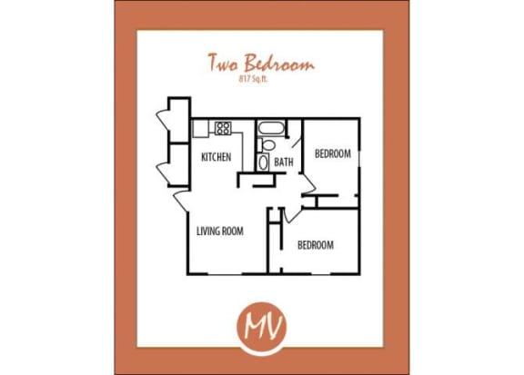 Floor Plan  2 bedroom 1 bathroom floor plan at Mission Vista Apartments at Tucson. AZ