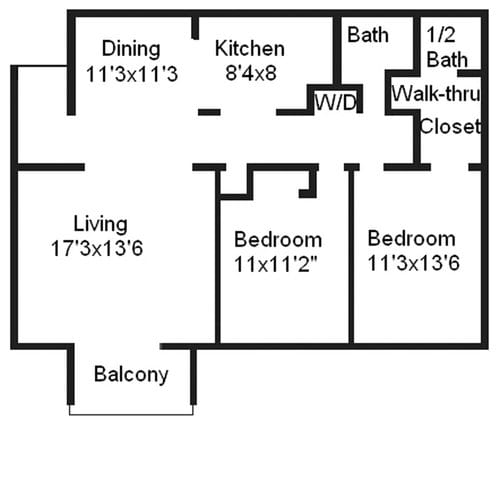 Floor Plan  2 bedroom 1 bathroom floor plan image at The Carrington Apartments in Hendersonville TN