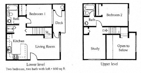Floor Plan  2 bedroom 2 bathroom floor plan at University West Apartments in Flagstaff, AZ