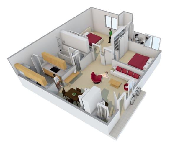 Floor Plan  Two bedroom one bathroom floor plan image at Radius Apartments in Phoenix AZ