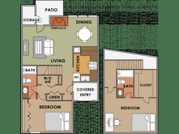 Floor Plan  Two bedroom two bathroom floor plan image at Orange Tree Village Apartments in Tucson AZ