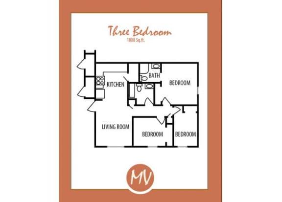Floor Plan  3 bedroom 2 bedroom floor plan at Mission Vista Apartments at Tucson. AZ