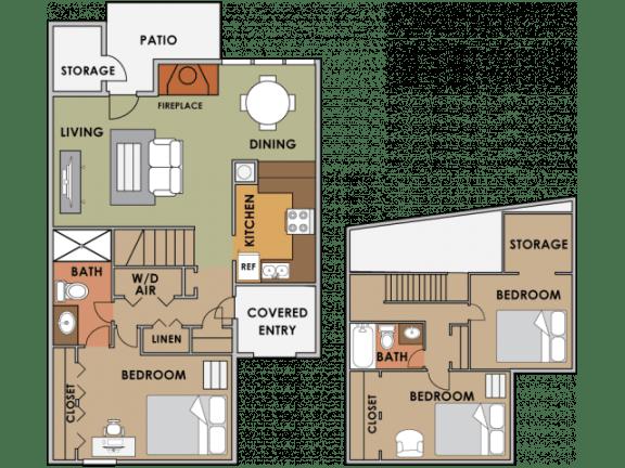 Floor Plan  Three bedroom two bathroom floor plan image at Orange Tree Village Apartments in Tucson AZ