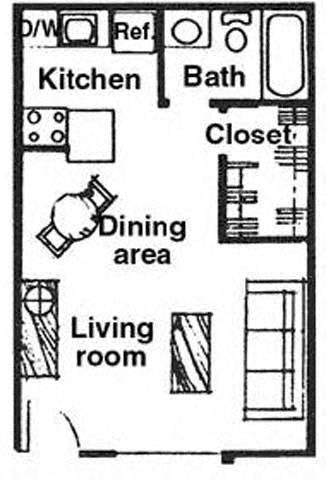 Floor Plan  Studio floor plan at River Oaks Apartments in Tucson, AZ