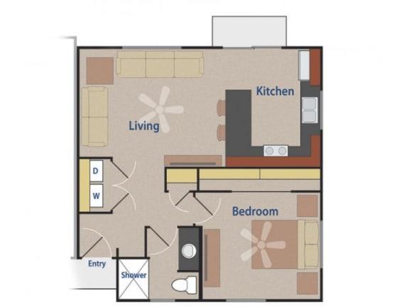 Floor Plan  THE KESTREL 1 bedroom 1 bathroom 635 square feet floor plan at Casitas At San Marcos in Chandler, AZ
