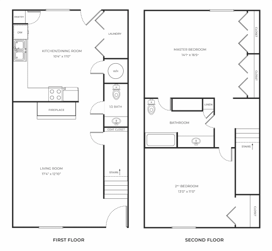 Floor Plan  Two bed one and a half bath townhome apartment murfreesboro, tn