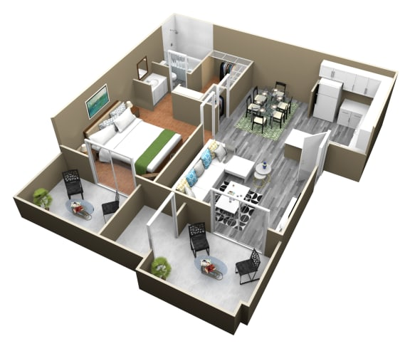 Floor Plan  1 Bed 1 Bath Apartments at Citrus Gardens Apartments