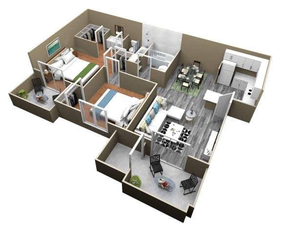 Floor Plan  2 Bed 2 Bath Apartments at Citrus Gardens Apartments