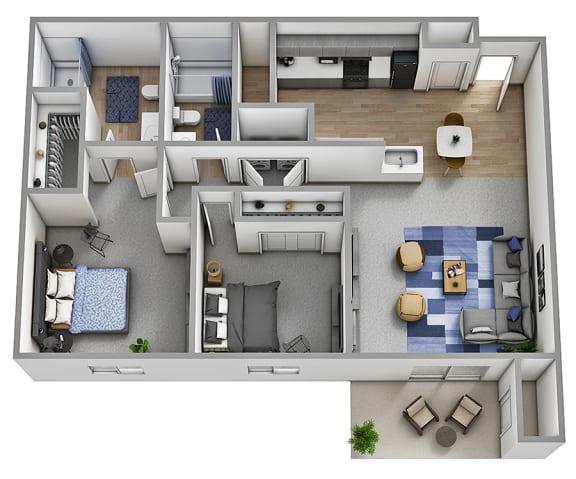 Floor Plan  Alpine - 2x2