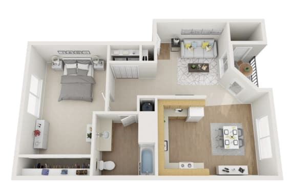 Floor Plan  Madison Square | One Bedroom, One Bathroom 747 sq ft