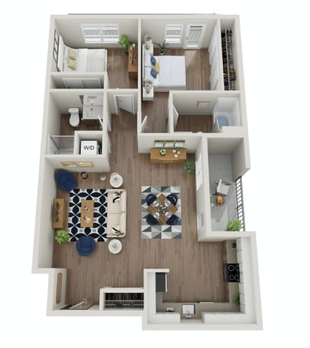 Floor Plan  The Morgan | PDX F Two Bedroom Two Bathroom
