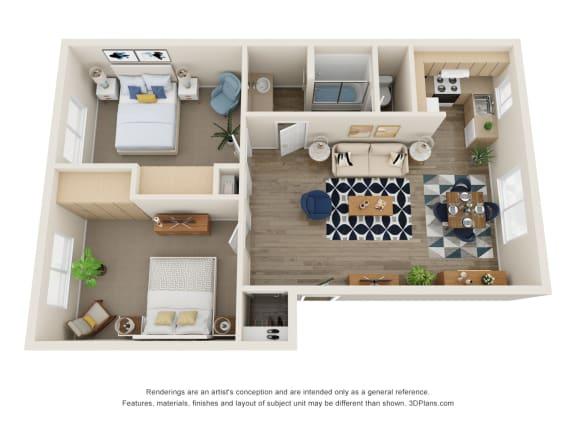 Floor Plan  The Montavilla | 2x1 Flat