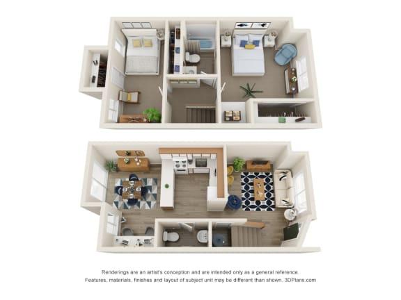 Floor Plan  The Montavilla | 2x1.5 Townhome