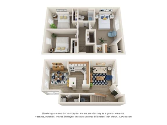 Floor Plan  The Montavilla | 3x1.5 Townhome