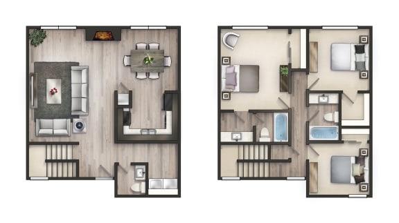 Floor Plan  3 Bedroom Townhome