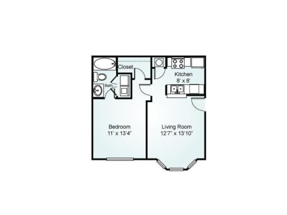 Floor Plan  1-bedroom/1-bathroom floor plan layout with 591 square feet at Chace Lake Villas apartments for rent in Birmingham, AL
