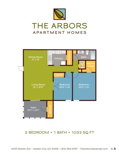 Floor Plan  The Arbors two bedroom & one bathroom floor plan with 1033 square feet in Garden City, GA apartments