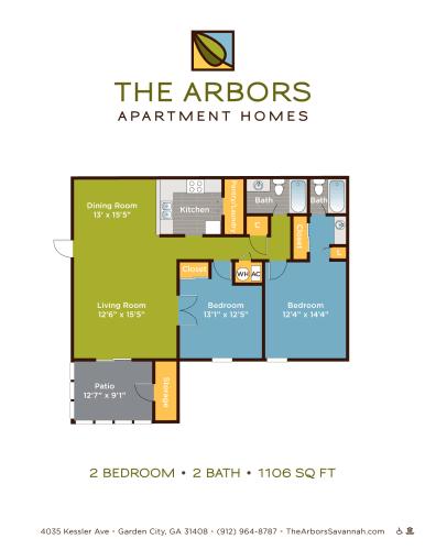 Floor Plan  The Arbors two bedroom & two bathroom floor plan with 1106 square feet in Garden City, GA apartment rentals