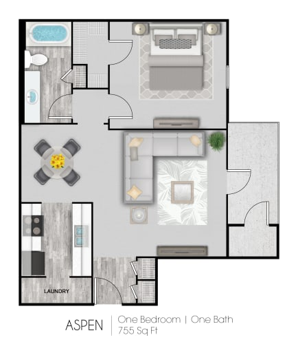Floor Plan  1-bedroom/1-bathroom floor plan with 755 square feet at Summer Trace apartments for rent