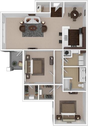 Floor Plan  2-bedroom/1-bathroom floor plan option at Riverstone apartments for rent in Macon, GA