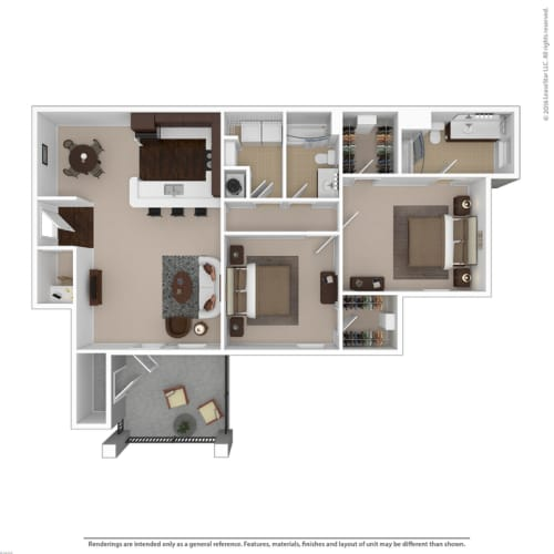 Floor Plan  2-bedroom/2-bathroom floor plan option with 1240 square feet at Riverstone apartments for rent in Macon, GA