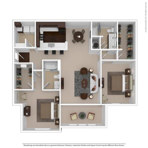 Floor Plan  2-bedroom/2-bathroom floor plan option at Riverstone apartments for rent in Macon, GA