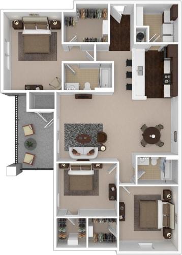 Floor Plan  3-bedroom/2-bathroom floor plan option at Riverstone apartments for rent in Macon, GA