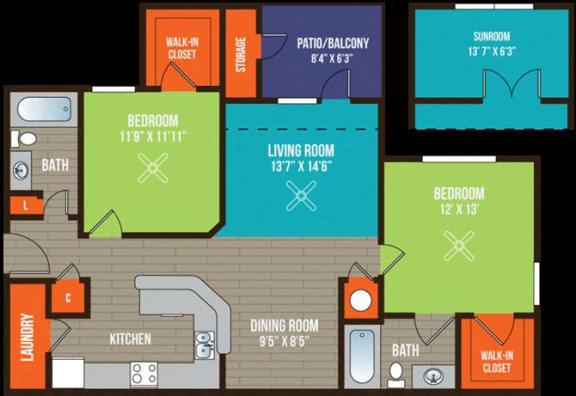 Floor Plan  2-bedroom/2-bathroom floor plan layout at Ten35 Alexander apartments for rent in Augusta, GA