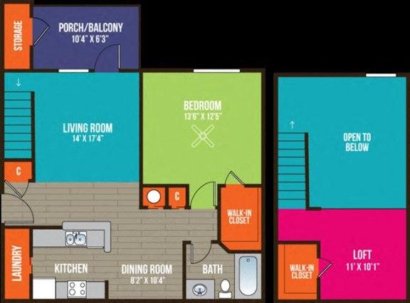 Floor Plan  1-bedroom/1-bathroom floor plan layout at Ten35 Alexander apartments for rent in Augusta, GA