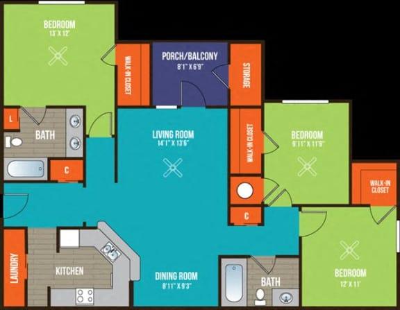 Floor Plan  3-bedroom/2-bathroom floor plan layout at Ten35 Alexander apartments for rent in Augusta, GA
