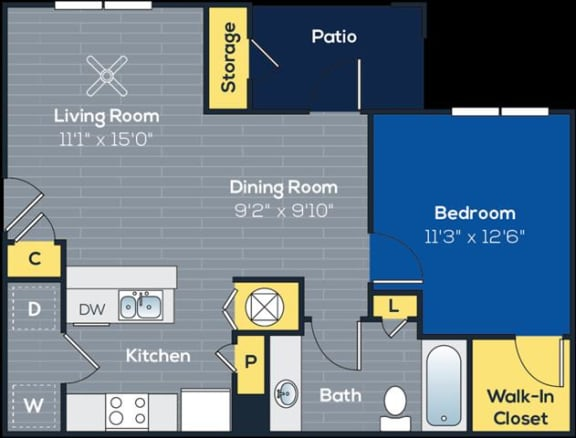 Floor Plan  a 1 bedroom, 1 bathroom floorplan at Heritage at Riverstone Apartments in Canton, GA