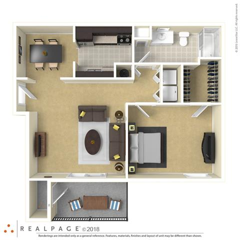 Floor Plan  Falls at Spring Creek one bedroom & one bathroom floor plan with 800 to 902 square feet called Ashton in Macon, GA