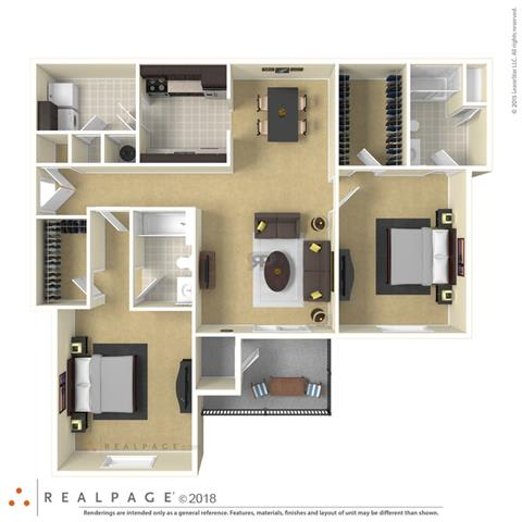 Floor Plan  Falls at Spring Creek two bedroom & two bathroom floor plan with 1240 square feet called Waterford in Macon, GA