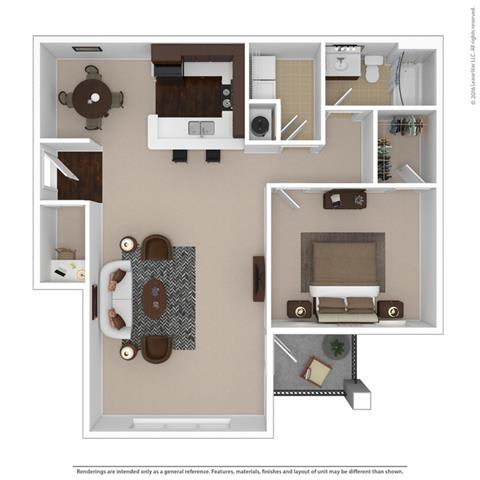 Floor Plan  1-bedroom/1-bathroom floor plan with 990 square feet at Riverstone apartments for rent in Macon, GA