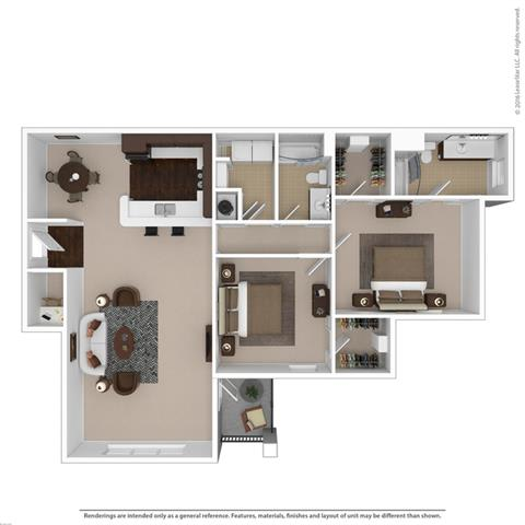 Floor Plan  2-bedroom/2-bathroom floor plan with 1390 square feet at Riverstone apartments for rent in Macon, GA