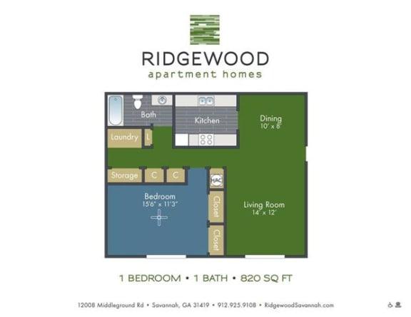 Floor Plan  1-bedroom/1-bathroom floor plan layout at Ridgewood apartments for rent in Savannah, GA