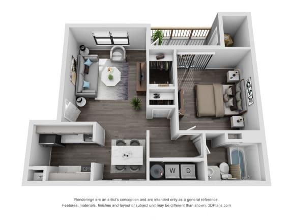 Floor Plan  Avisa Lakes Magnolia 1 bedroom apartment for rent
