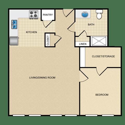 Floor Plan  1 BED 1 BATH A
