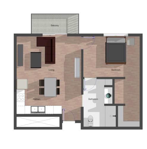 Floor Plan  1 Bedroom, 1 Bathroom.  Building B. 668 square feet. ADA