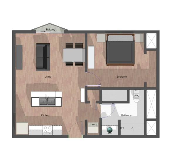 Floor Plan  1 Bedroom, 1 Bathroom. Building C. 668 square feet.